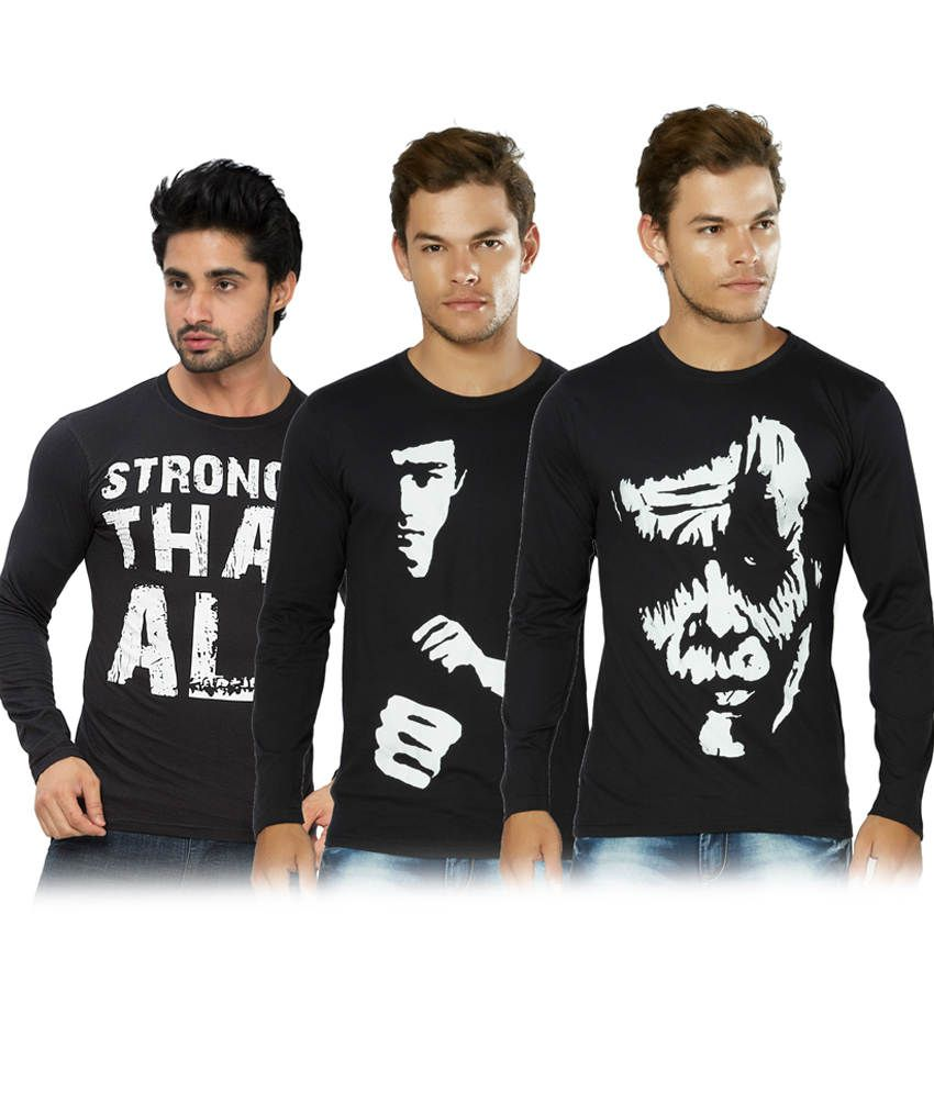 Alan Jones Printed Black Full Tshirt-Pack Of 3