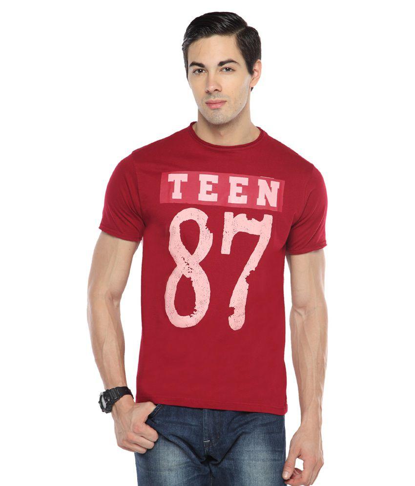 Teen Tees Maroon Cotton T-Shirt