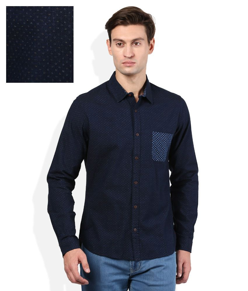 United colors of benetton navy blue printed shirt buy for Navy blue color shirt