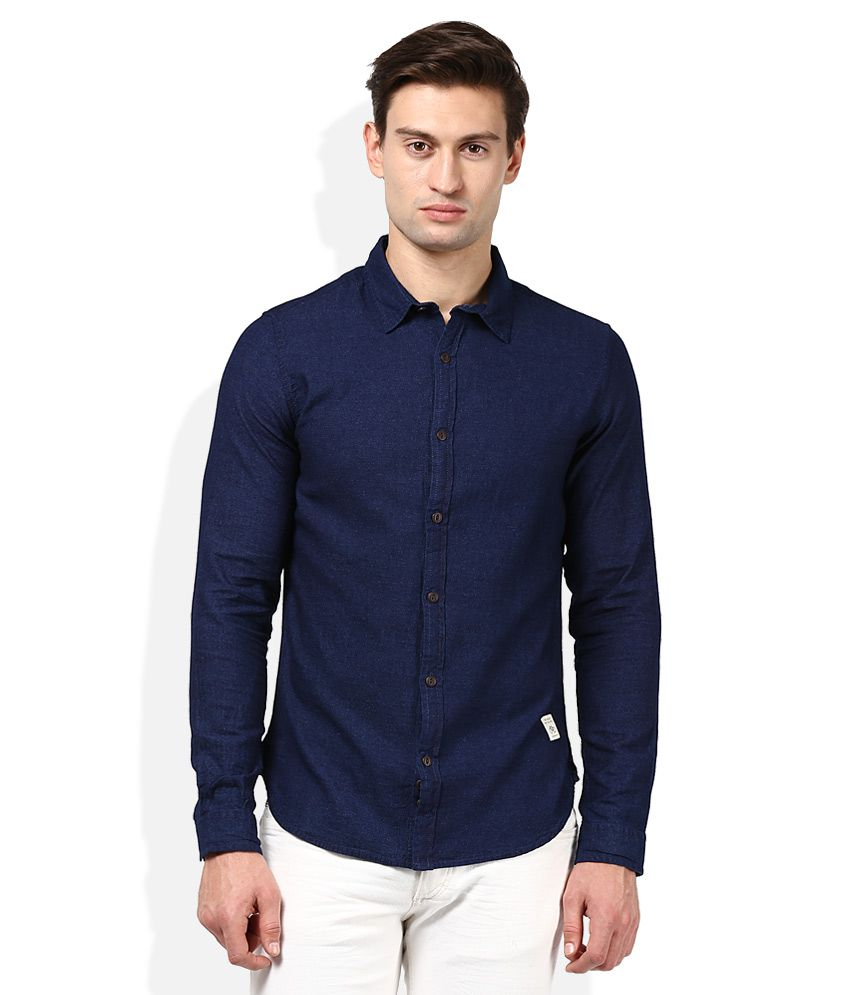 United colors of benetton navy blue solid shirt buy for Navy blue color shirt