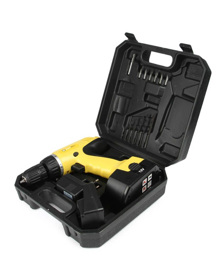 Buildskill-Rechargable-Cordless-Drill-Set-(With-13-Accessories-&-Battery)