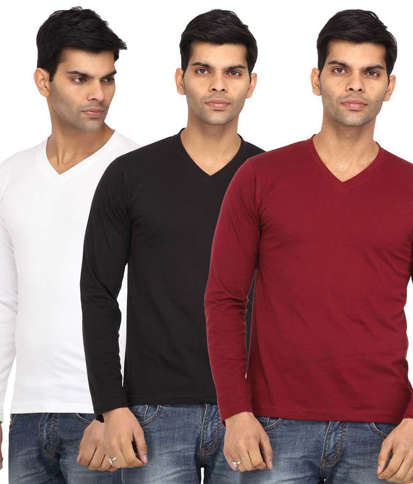 Leana Multicolor Cotton Basics Shirts - Pack Of 3