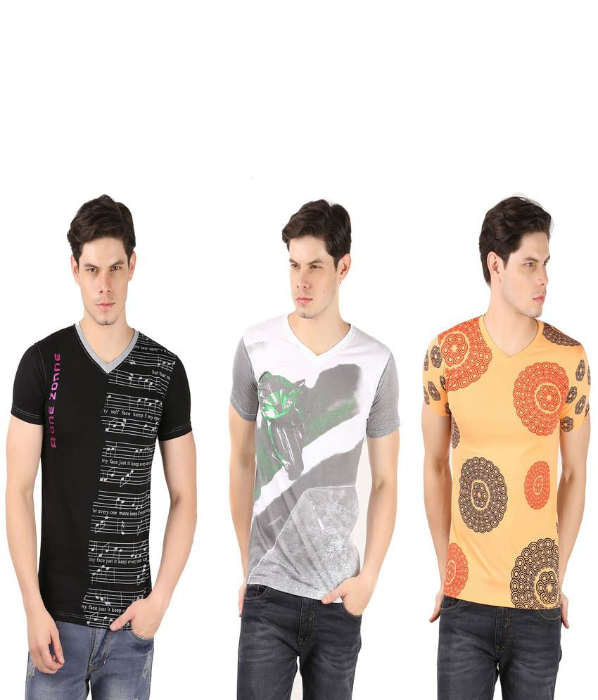 A1 Tees Multicolor Cotton Blend T-Shirt - Pack Of 3