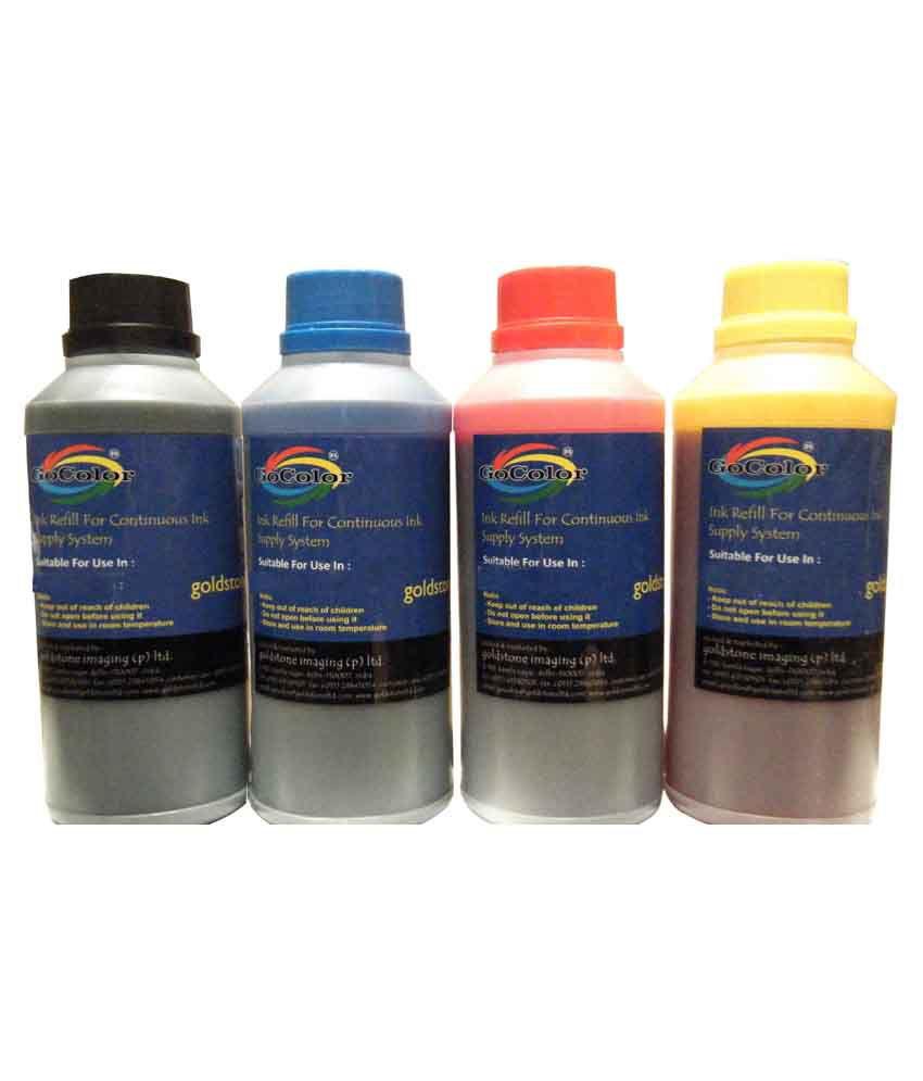 Gocolor Multicolor Four bottles Refill Kit for dye ink use for hp refilling inkjet printer cartridge and ciss