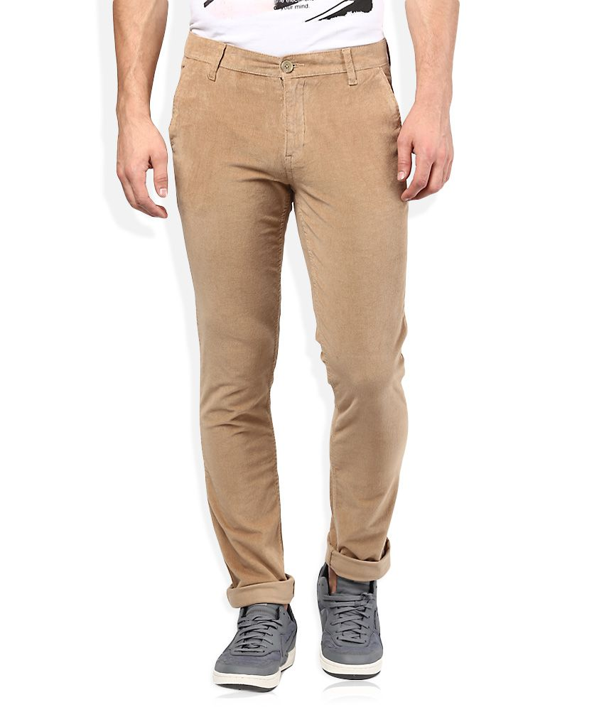 John Players Khaki Solid Chinos