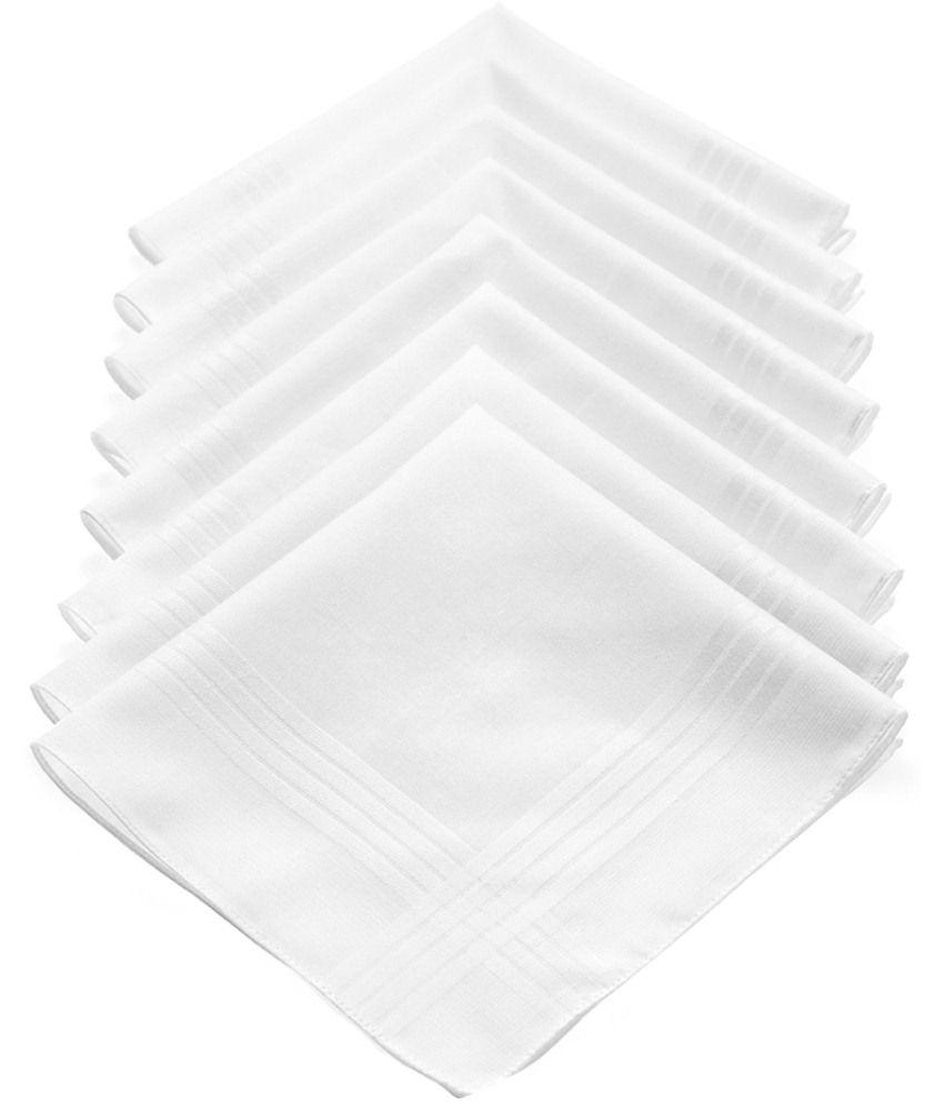 Juvenile White Cotton Handkerchief Set Of 8