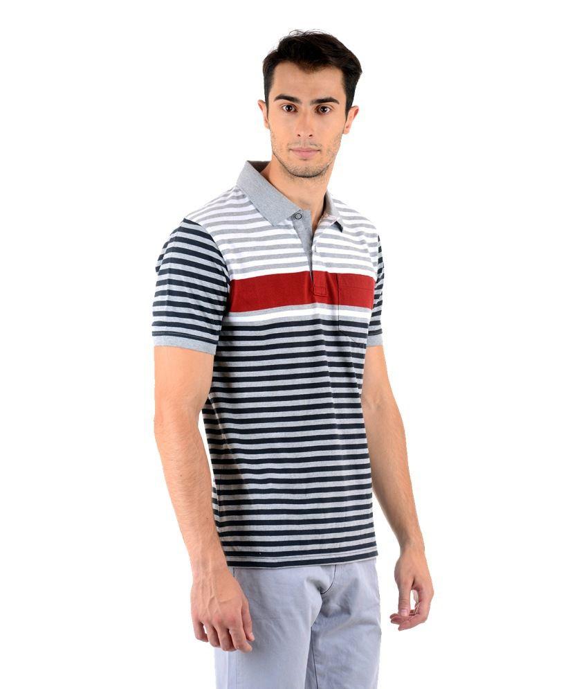 Keywest Multicolour Half Stripes Polo T-shirt