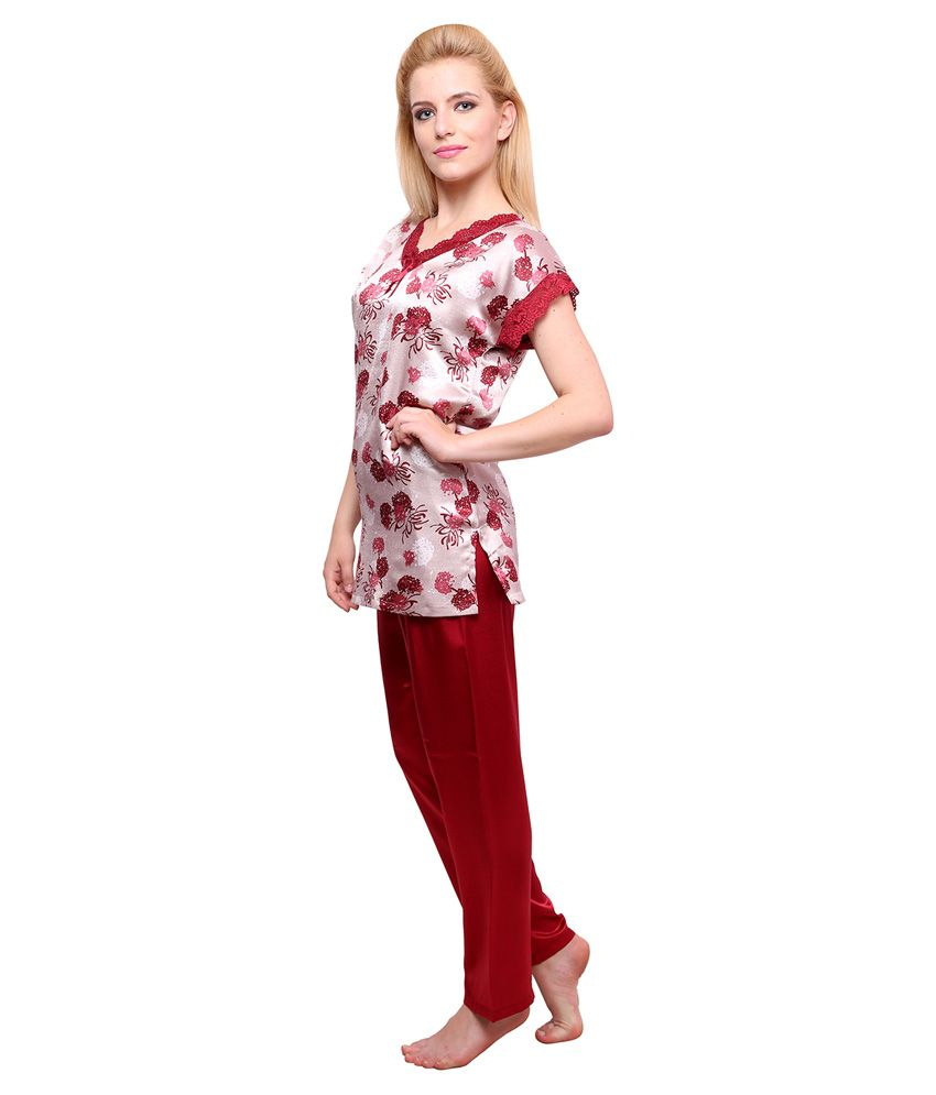 d564b5cbd03 Buy Private Lives Maroon Satin Nightsuit Sets Online at Best Prices in India  - Snapdeal