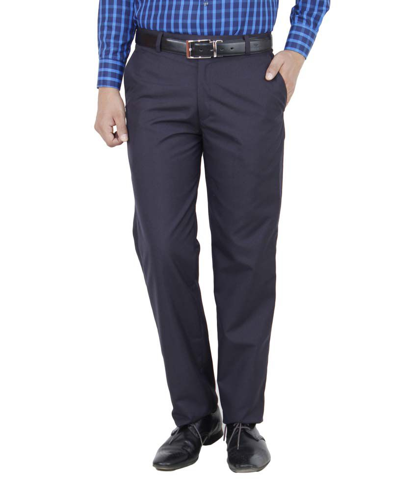 Comfortline Blue Regular Fit Formal Trouser