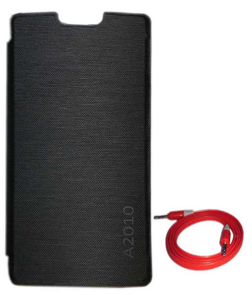 Tbz Flip Cover For Lenovo A2010 With Aux Cable -black
