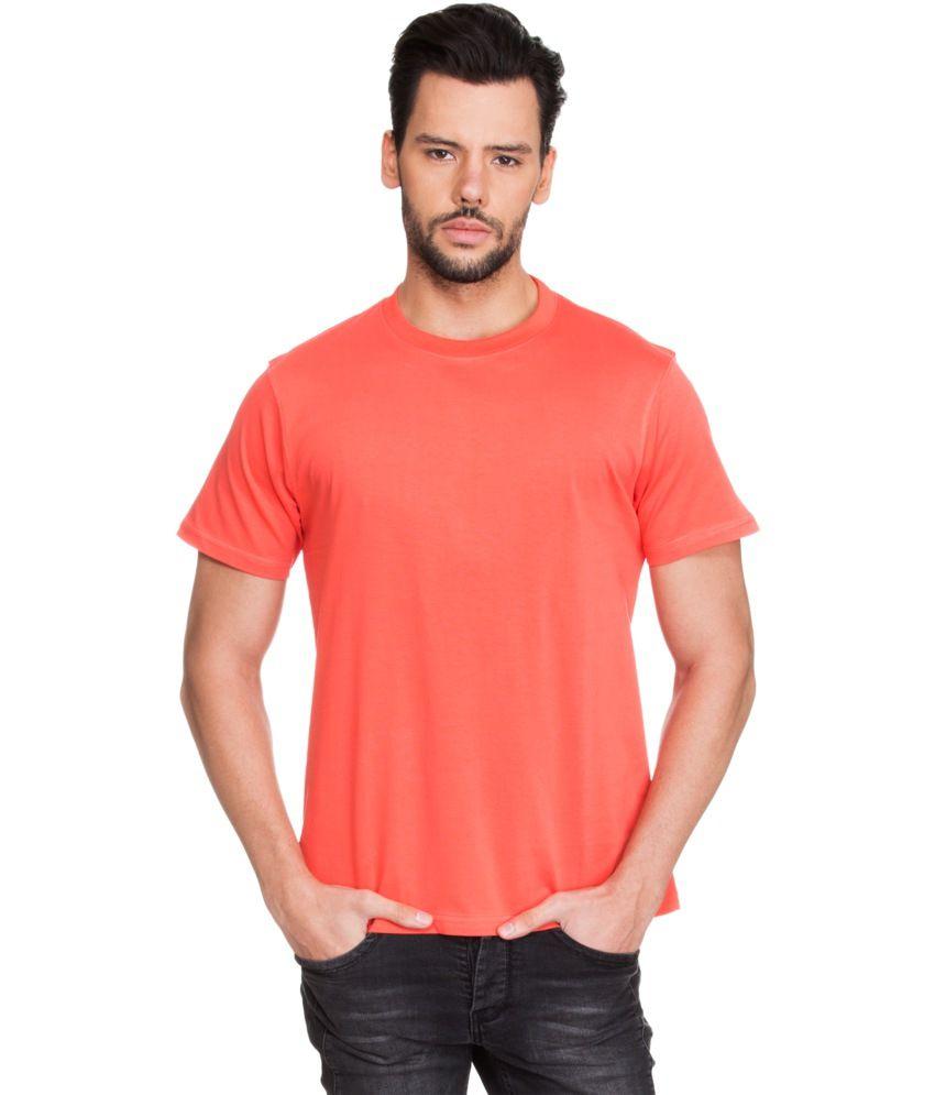 Zovi Orange Cotton Round Neck T-shirt