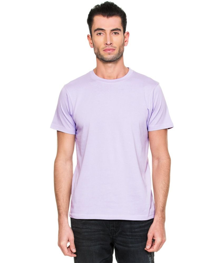 Zovi Purple Cotton Round Neck T-shirt