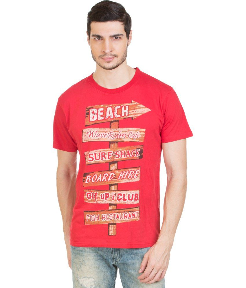 Zovi Red Cotton Round Neck T-shirt