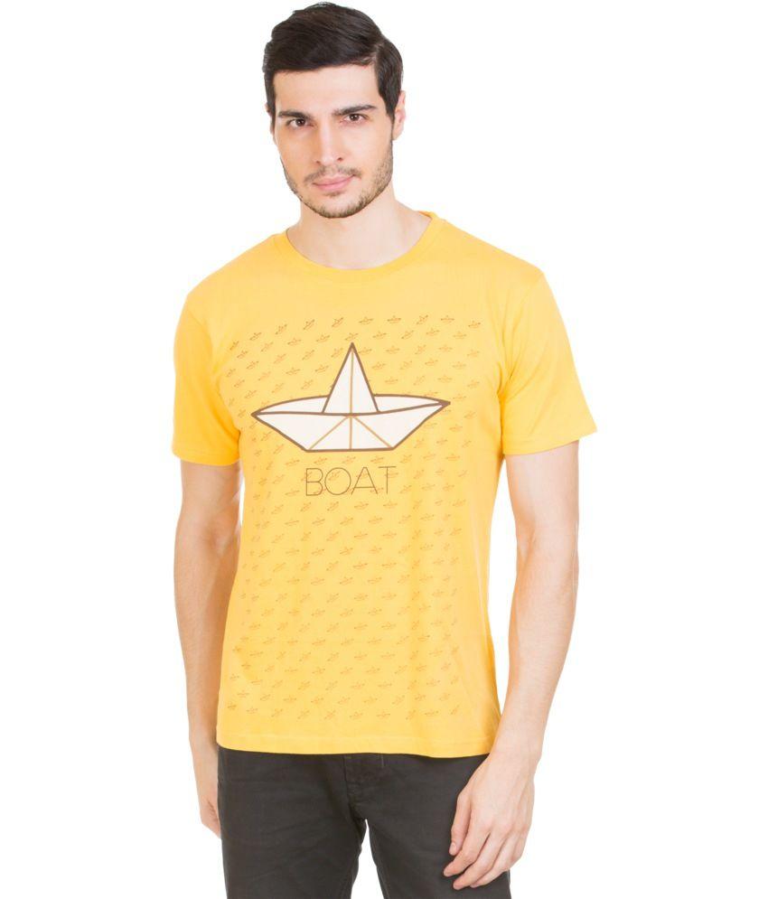Zovi Yellow Cotton Round Neck T-shirt