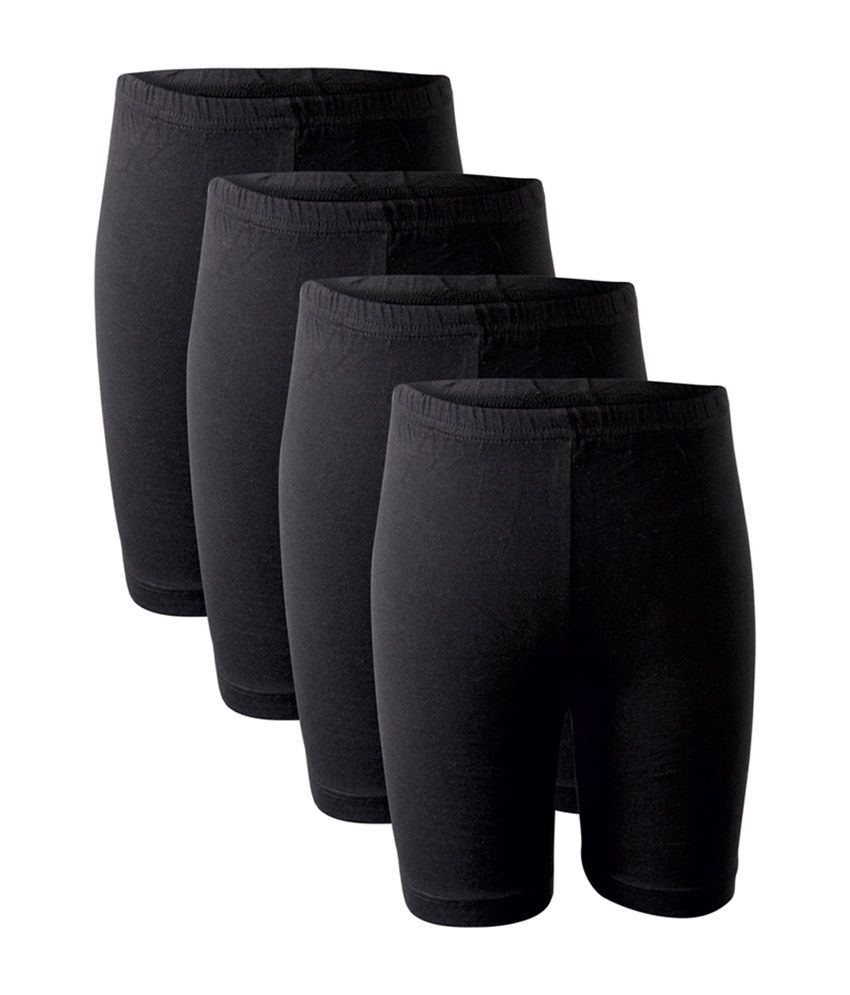 Bodycare Black Cotton Girls Shorts (Pack of 4)