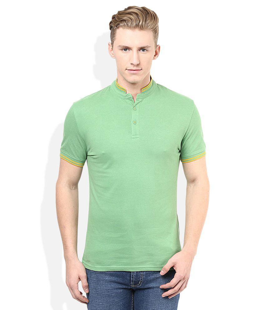 Celio Green Solid Henley T-Shirt