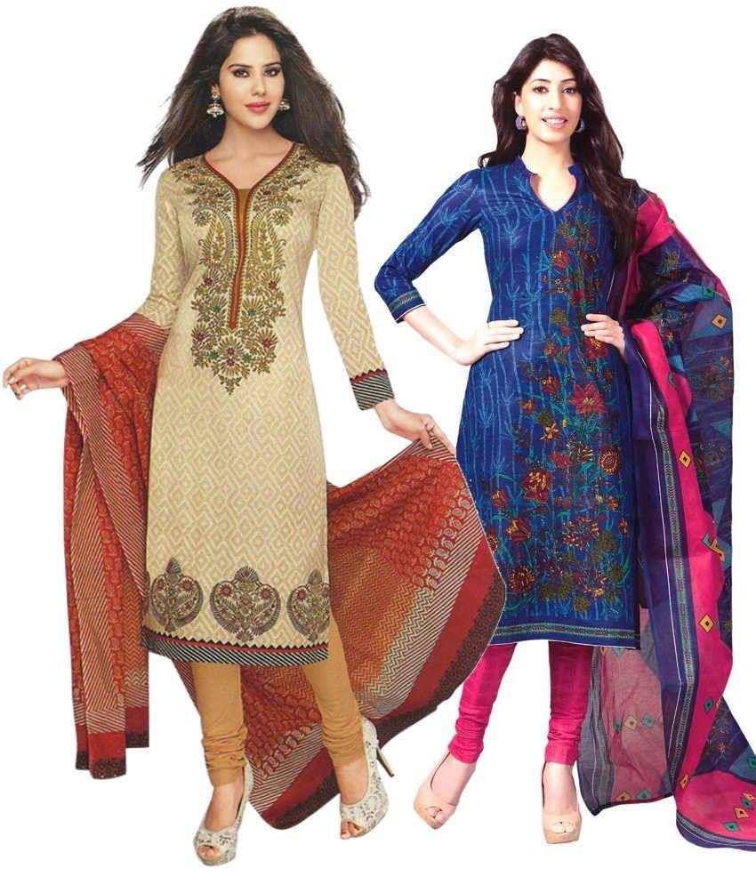 Mega Cotton Combo of Beige and Blue Cotton Unstitched Dress Materials (Set of 2)