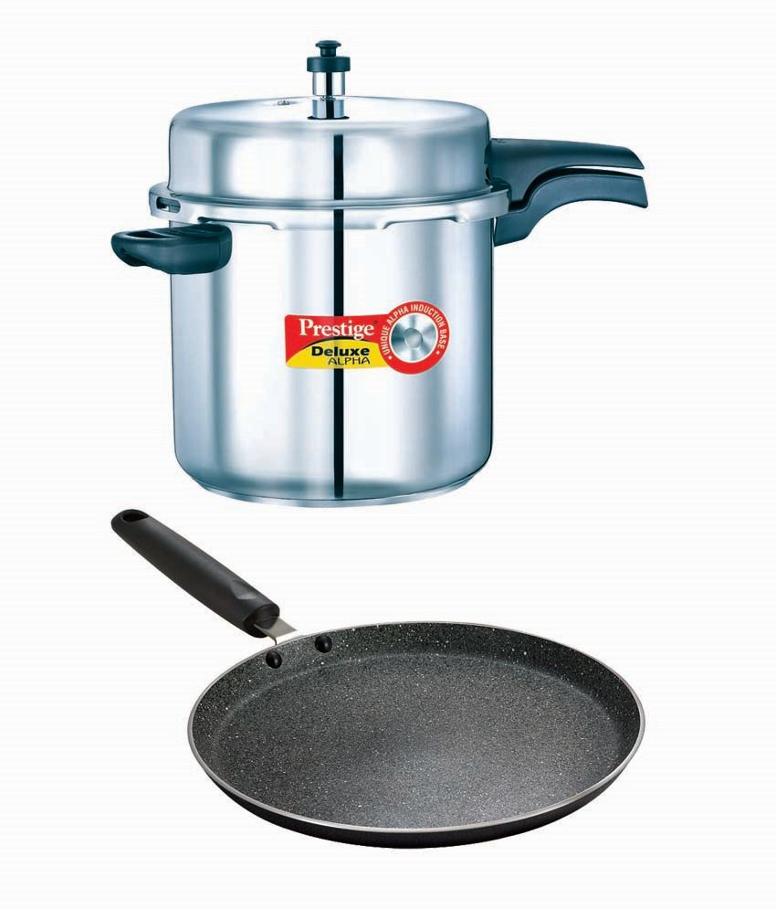 Buy Deluxe Alpha Stainless steel 10 litre cooker Get Granite Omni tawa 280 mm free