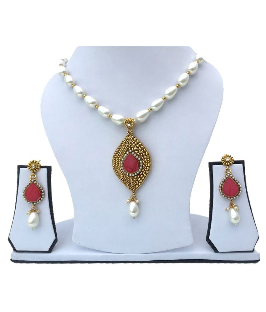 Dafata Golden Alloy Necklace Set