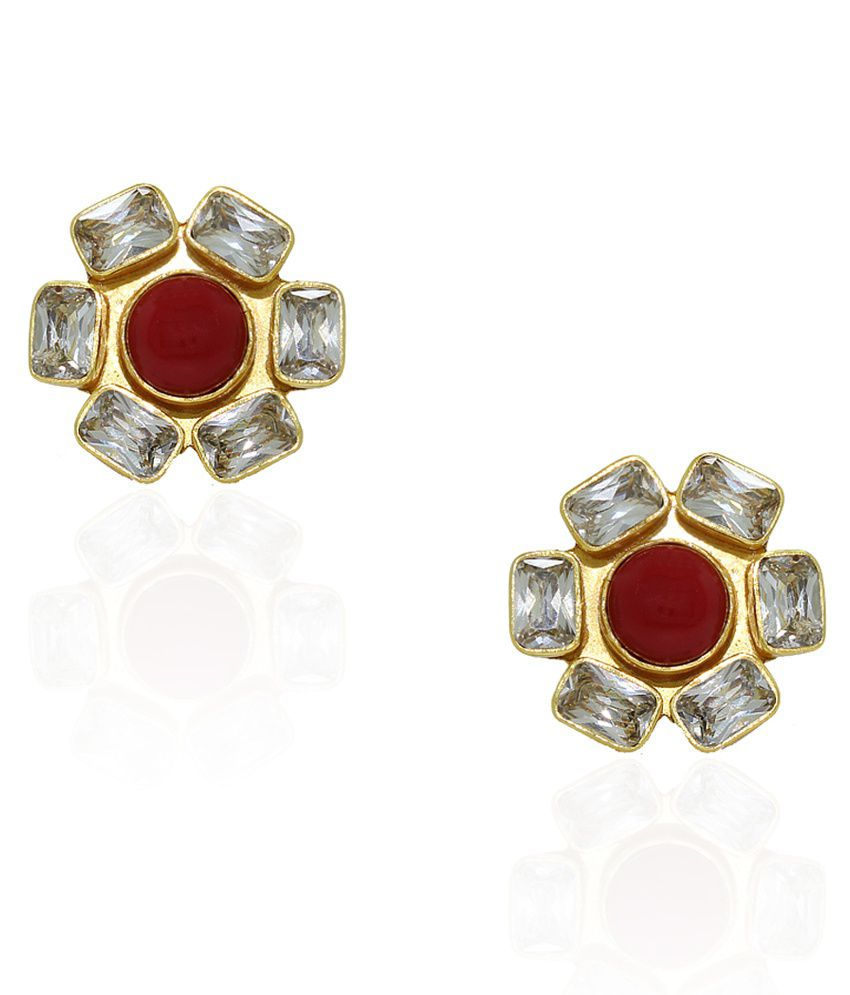 Frabjous Red Stone Golden Bridal Toe Ring