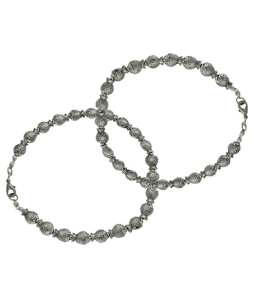 Frabjous Silver Bridal Anklets
