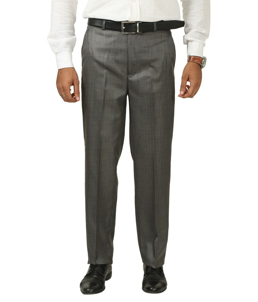 7 Colours Grey Poly Viscose Regular Fit Formal Trouser