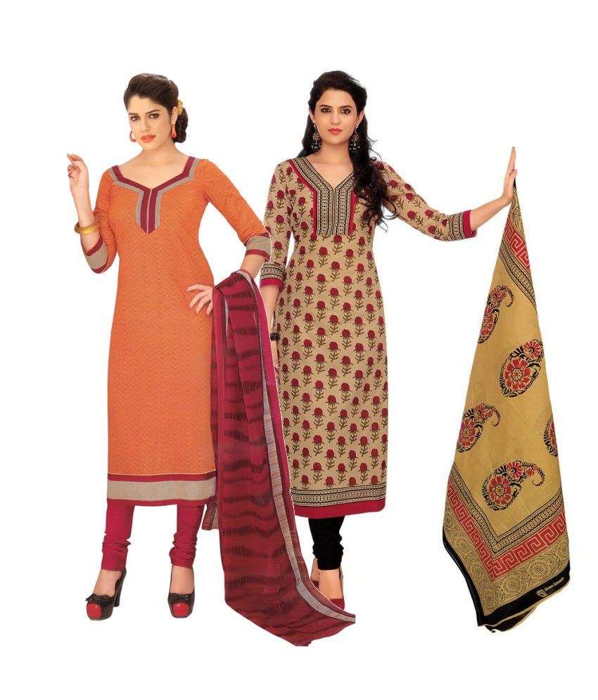 Divi Combo of Orange and Brown Cotton Unstitched Dress Materials (Set of 2)