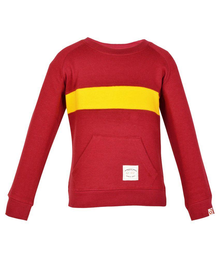 Gkidz Maroon Cotton Sweatshirt