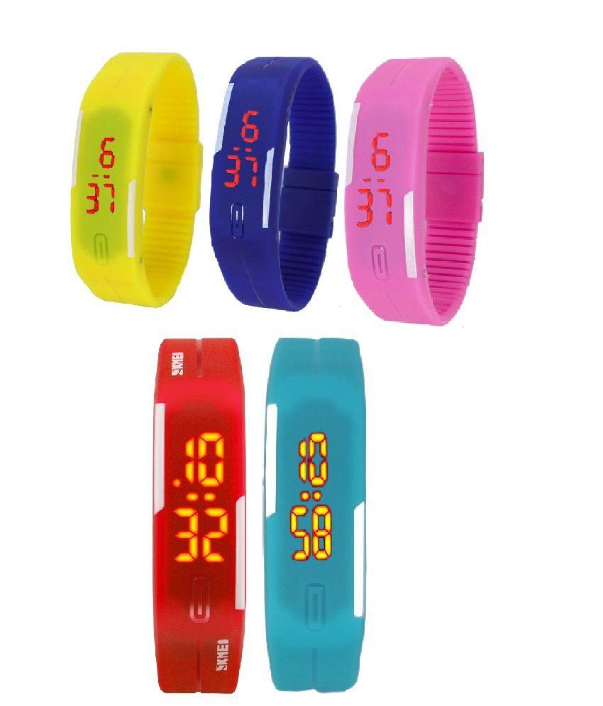 Lime Multicolour Rubber Rectangular Digital Watch Set Of 5