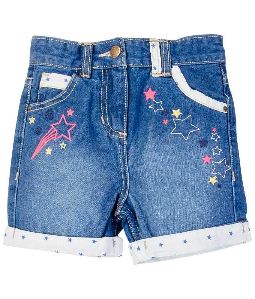 Oyez Blue and White Denim Shorts