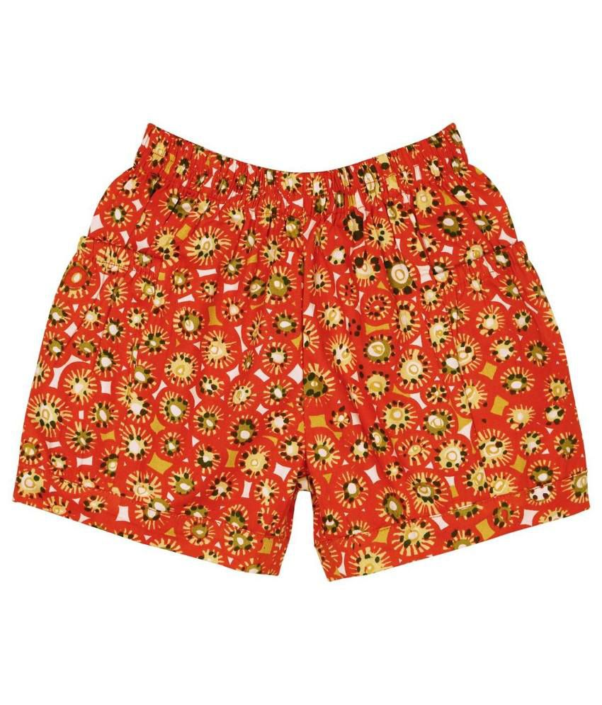 Oyez Orange and Green Cotton Shorts