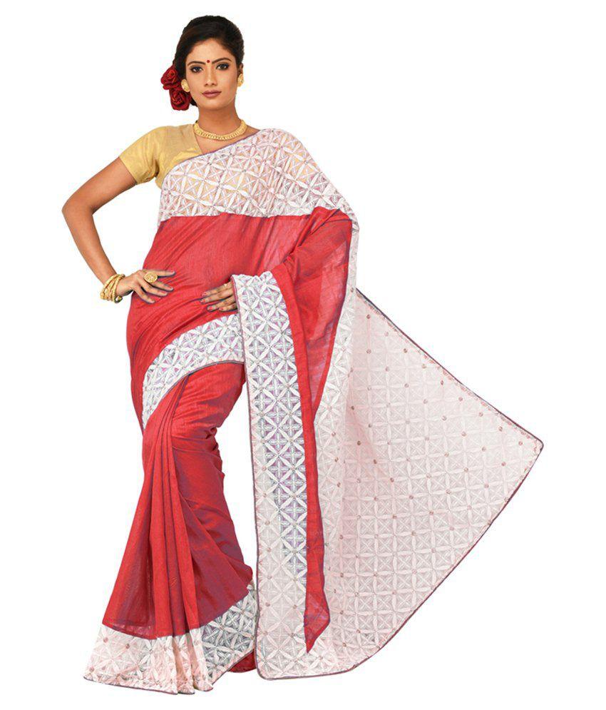 Sangam Kolkata Pink Art Silk Saree