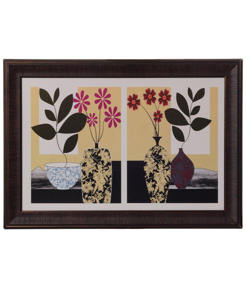 eCraftIndia Beige & Black Botanical Floral Pot Satin Framed UV Art Print Painting
