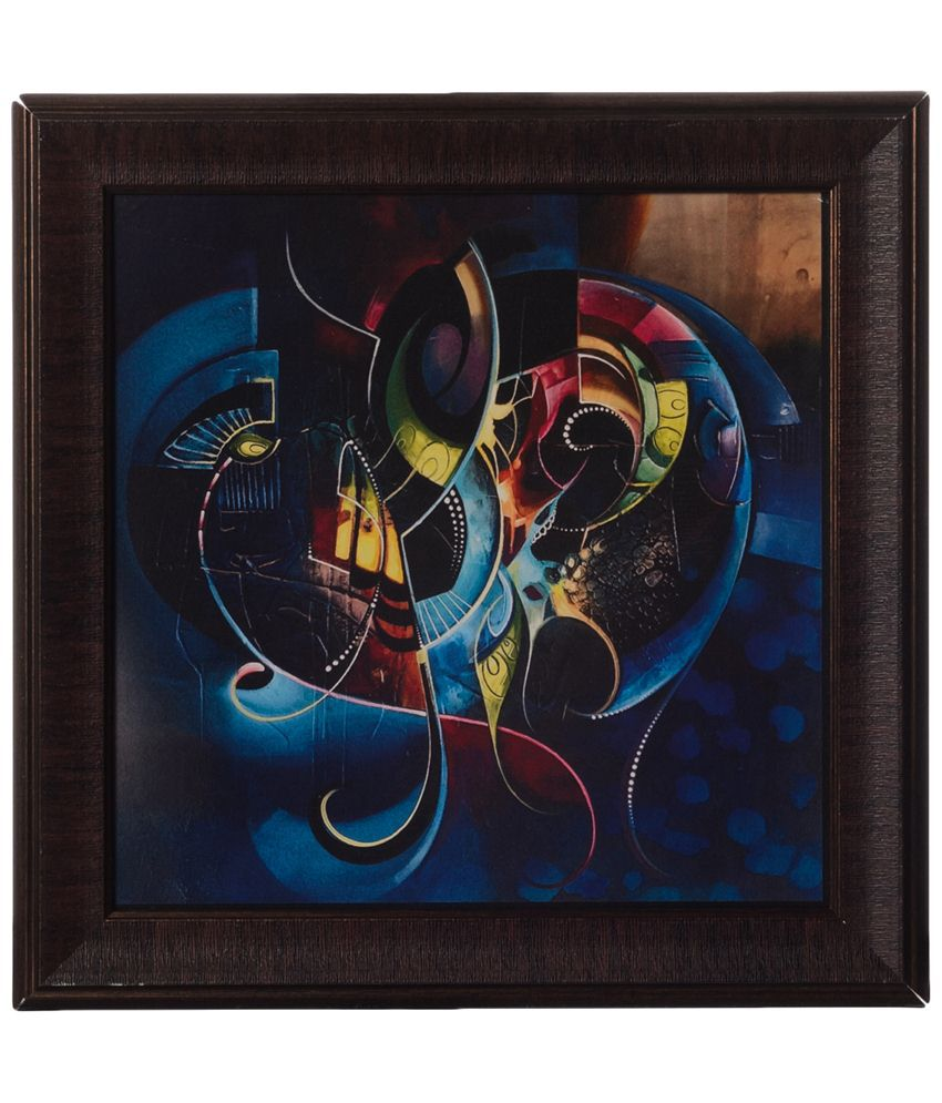 eCraftIndia Blue & Brown Graphical Satin Framed UV Art Print Painting