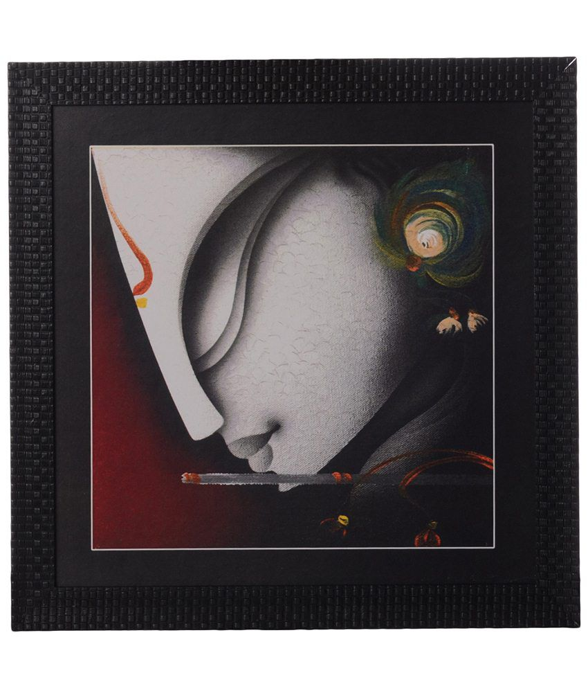 eCraftIndia Gray Krishna Playing Flute Satin Framed UV Art Print Painting