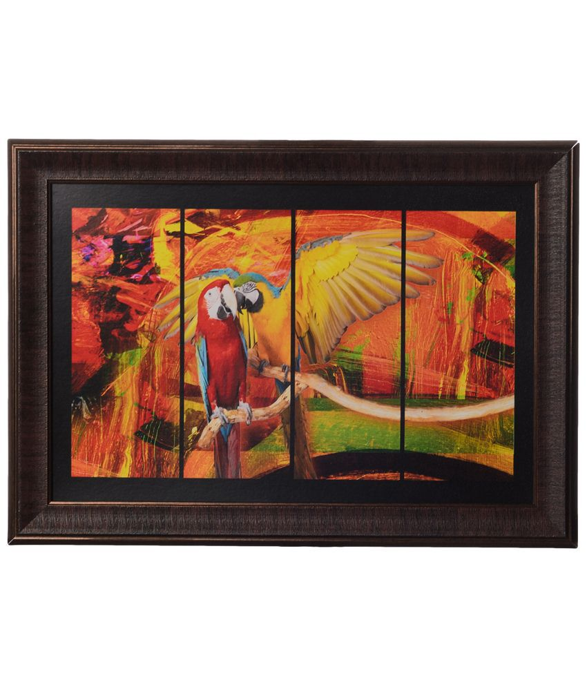 eCraftIndia Orange & Yellow Parrot Satin Framed UV Art Print Painting