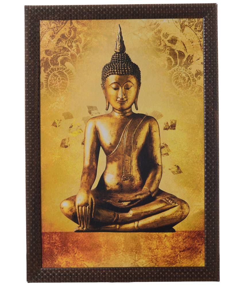 eCraftIndia Yellow & Orange Meditating Buddha Satin Framed UV Art Print Painting