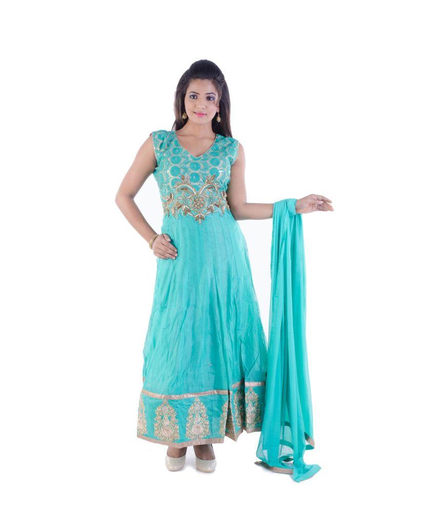 Sharmili Green Chanderi Stitched Suit