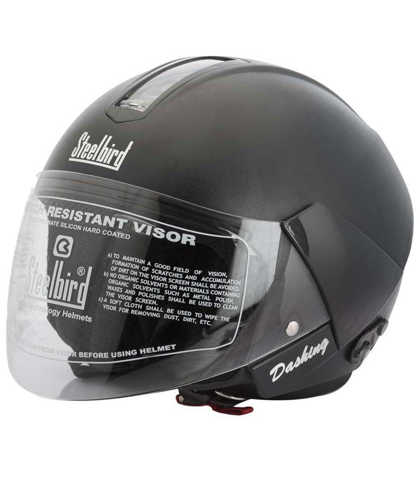 Steelbird Sb-35 Dashing Black Open Face Helmet