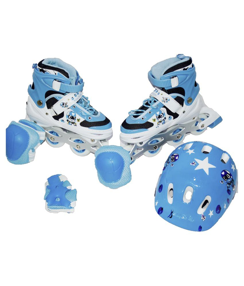 Xsive Blue And White Roller Skates With Knee Pad And Helmet