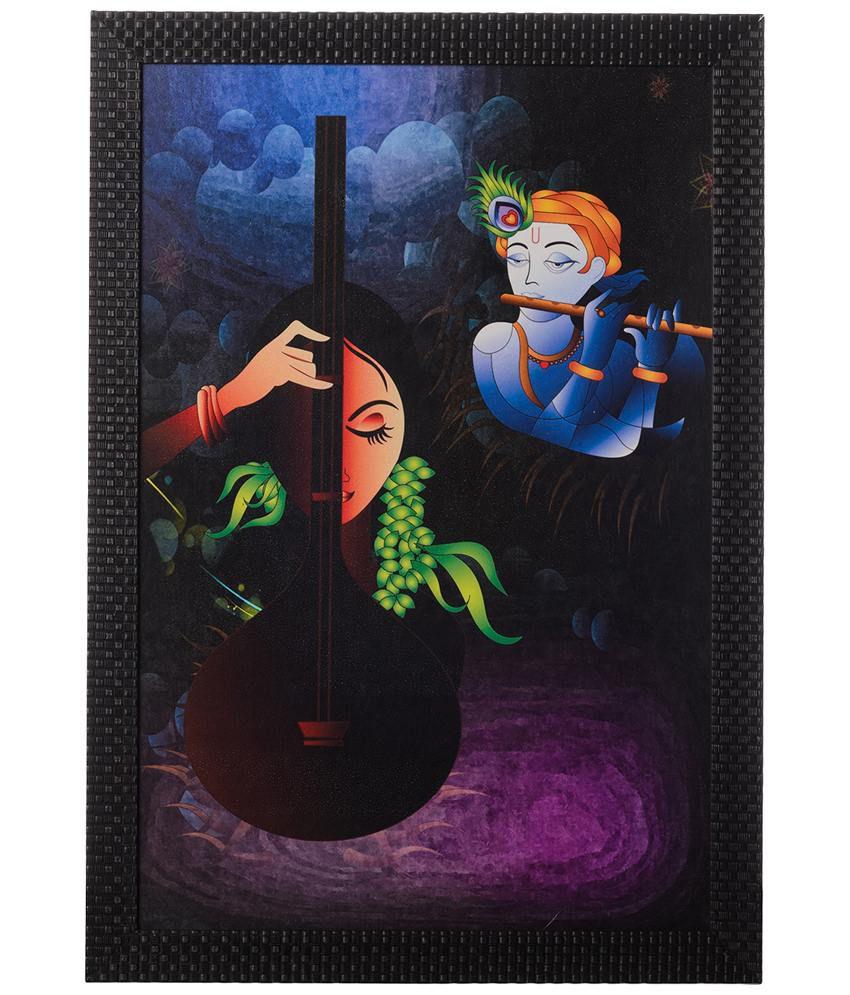 eCraftIndia Blue & Black Radha Krishna Satin Framed UV Art Print Painting