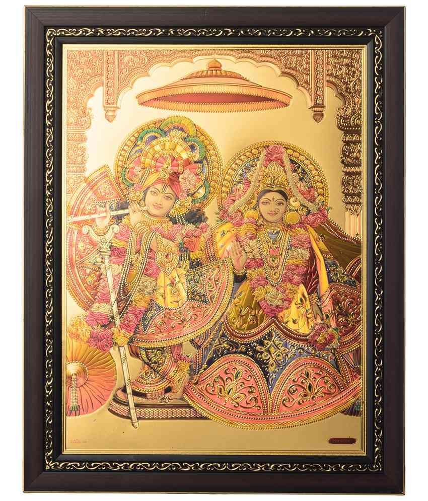 eCraftIndia Excellent Multicoloured Radha Krishna Framed Laminated Foil Painting