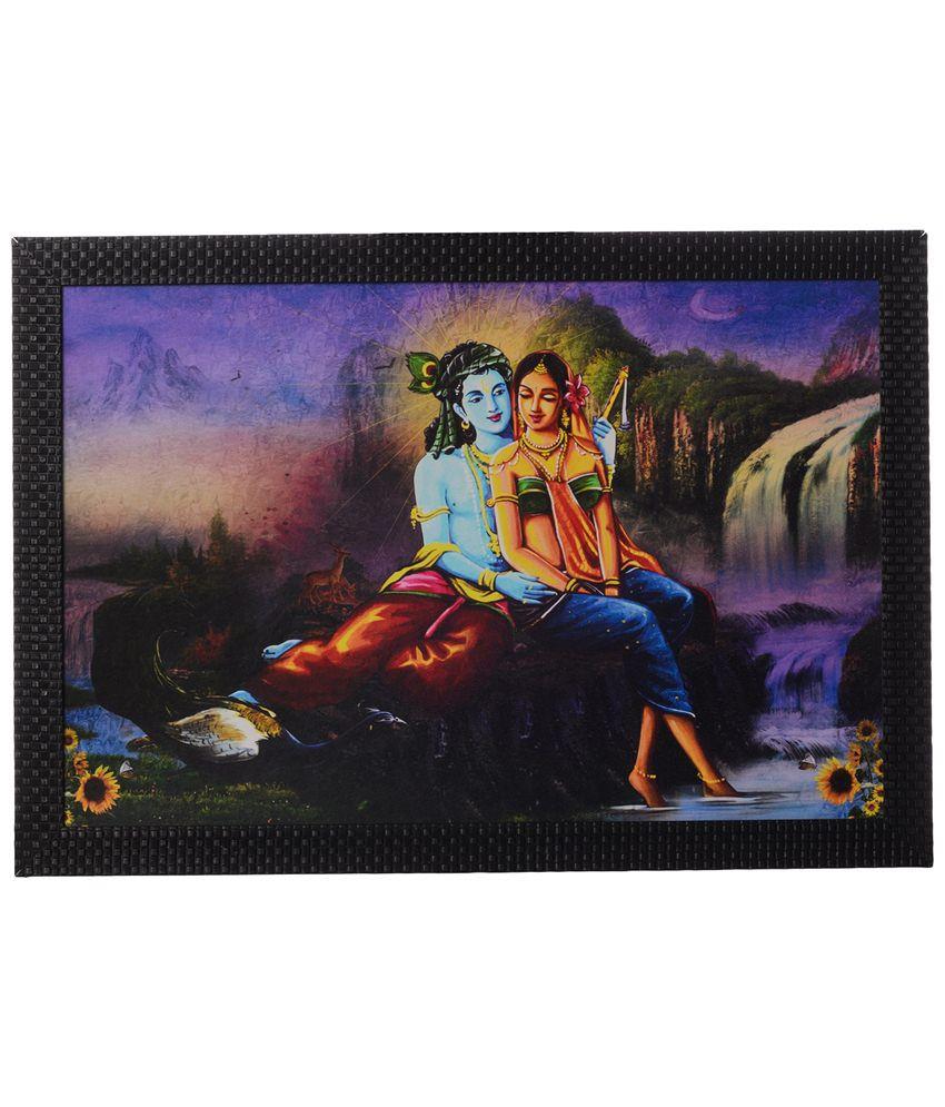 eCraftIndia Exclusive Multicoloured Radha Krishna Satin Framed UV Art Print Painting