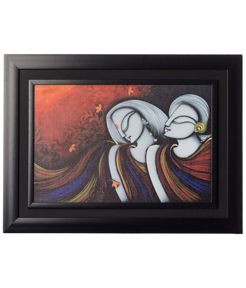 eCraftIndia Multicoloured Abstract Radha Krishna Framed Canvas Reprint Oil Painting