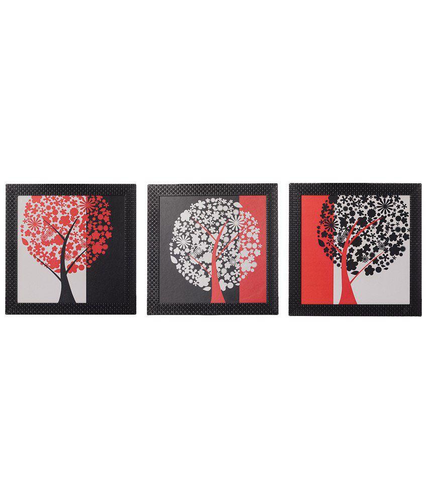 eCraftIndia Pack of 3 Red, Black & White Tree View Satin Framed UV Art Print Paintings