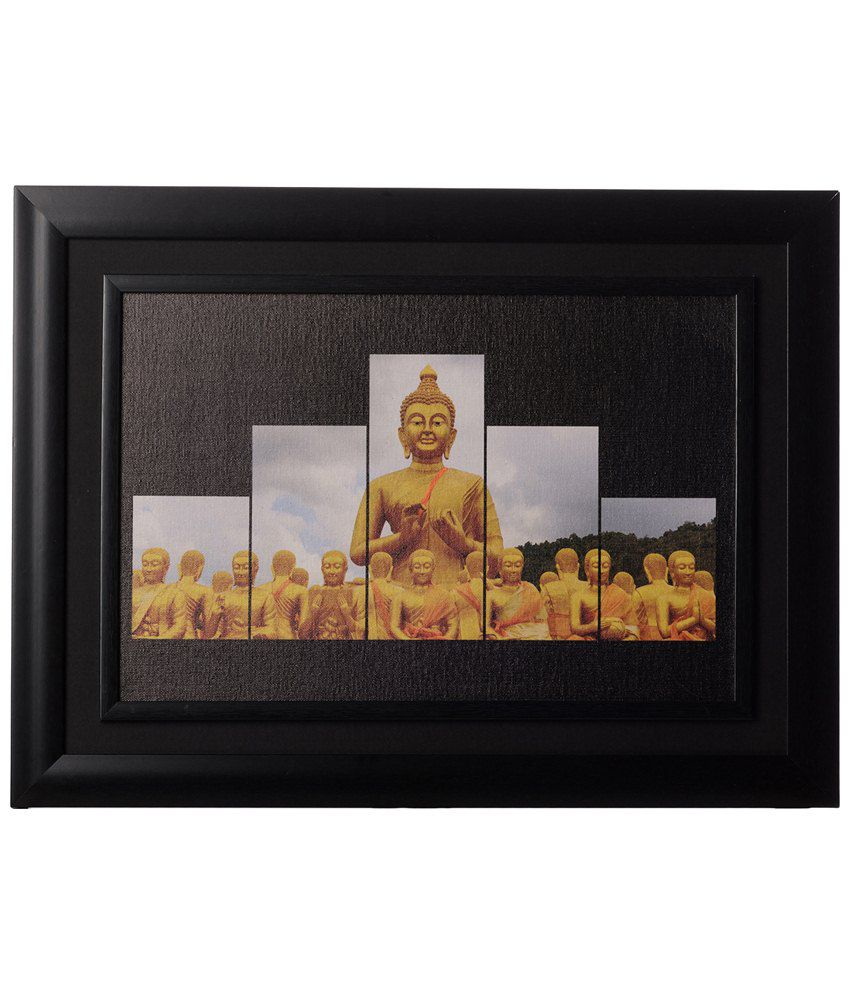eCraftIndia Yellow & Black Spiritual Budh Monks Framed Canvas Reprint Oil Painting