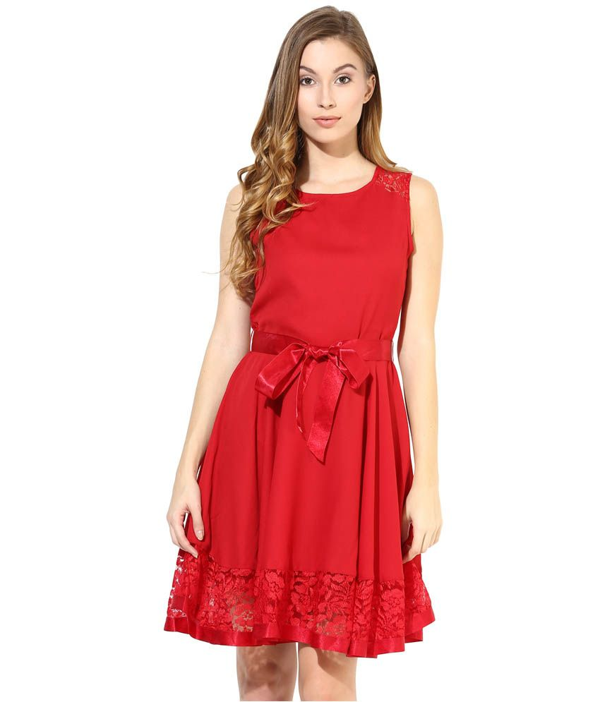 aa656e277f The Vanca Red Georgette Dresses - Buy The Vanca Red Georgette Dresses Online  at Best Prices in India on Snapdeal