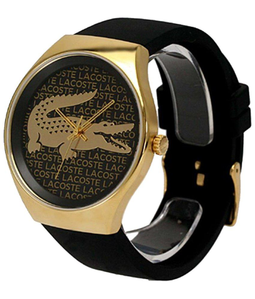 5daad275354 Lacoste Black & Golden Analogue Wrist Watch Price in India: Buy Lacoste  Black & Golden Analogue Wrist Watch Online at Snapdeal