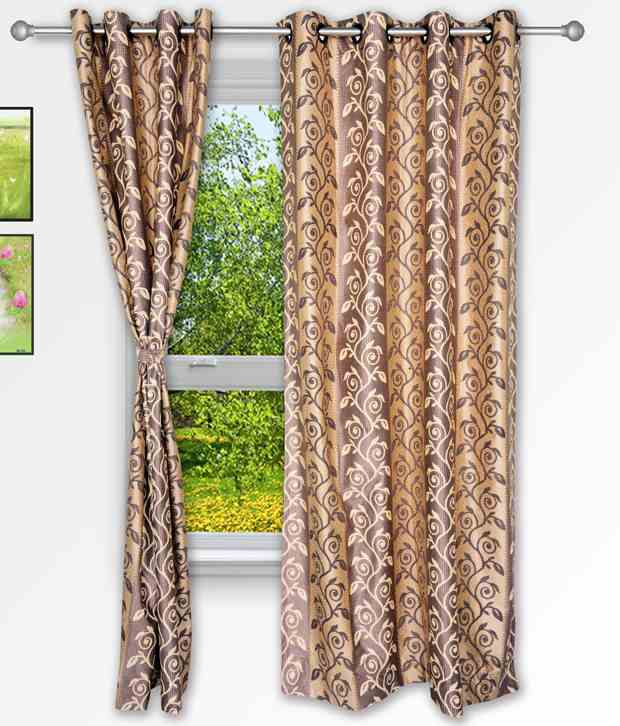 Story@Home Set of 2 Window Eyelet Curtains Printed Brown