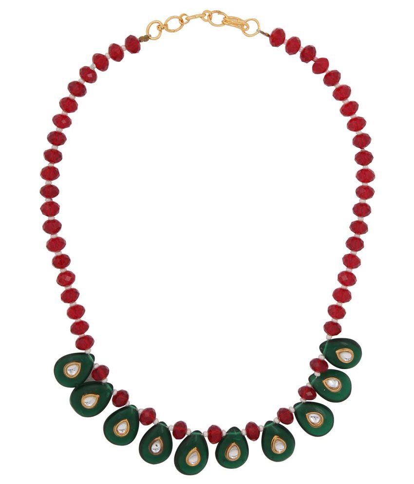 Utsokt Maroon Acrylic Necklace Set